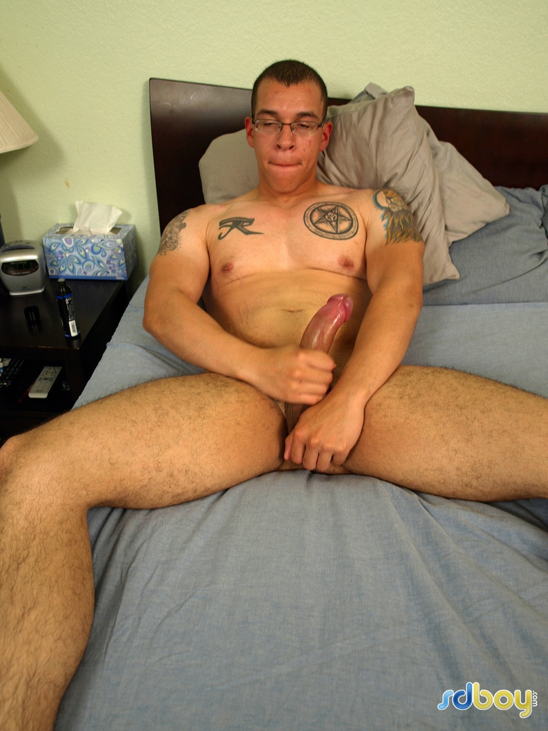 SD-Boy-Ray-Sosa-Big-Uncut-Cock-Latino-Marine-Masturbating-Amateur-Gay-Porn-09 Amateur Gay Latino Marine Shows His Tatts and Jerks His Uncut Cock