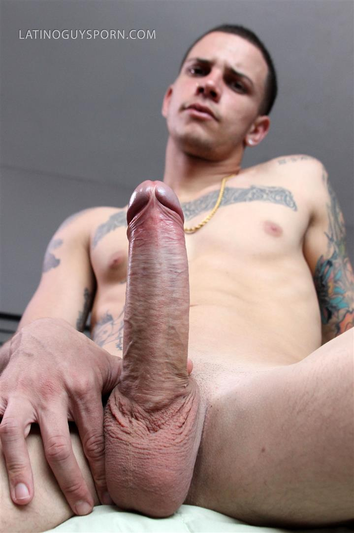 Latino-Guys-Porn-Olaf-Big-Uncut-Cock-Masturbation-Video-3 Tatted Up Young Latino Stud Jerks His Big Uncut Cock